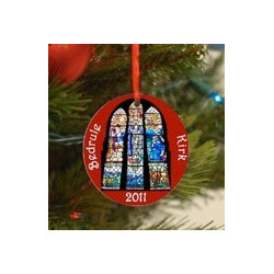 2011 Collectible Bedrule Kirk Stained Glass Ornament